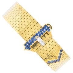 Retro Tiffany & Co 1.35 Carat Sapphire Diamond 14 Karat Gold Jarretière Bracelet