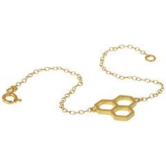 18ct Yellow Gold Honeycomb Chain Bracelet