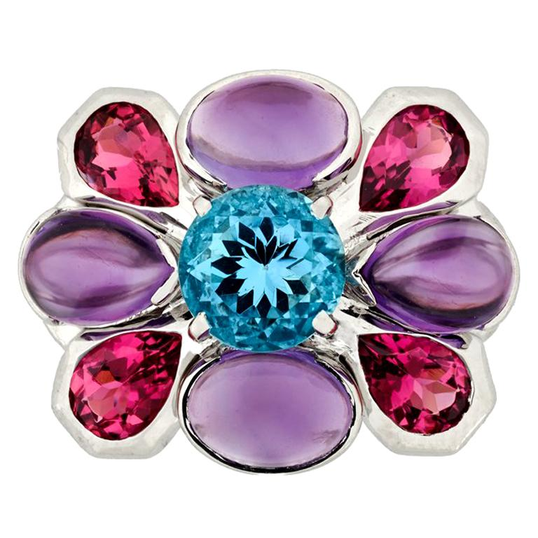 Chanel Aquamarine Amethyst and Tourmaline Ring in 18K White Gold For Sale