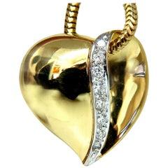 Diamonds Heart Necklace .20 Carat Snake Link Chain 14 Karat