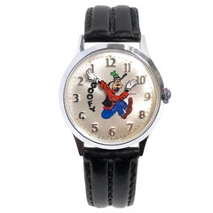 1972 Helbros Disney Goofy Backwards Mechanical Wristwatch