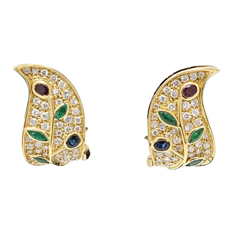 Sapphires Emerald and Ruby Yellow Gold Clip-On Drop Earrings 0.25 Carat Diamonds