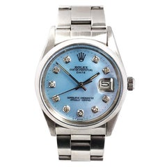 Rolex Date Model Stainless Steel Automatic Pearl and Diamond Dial Wristwatch