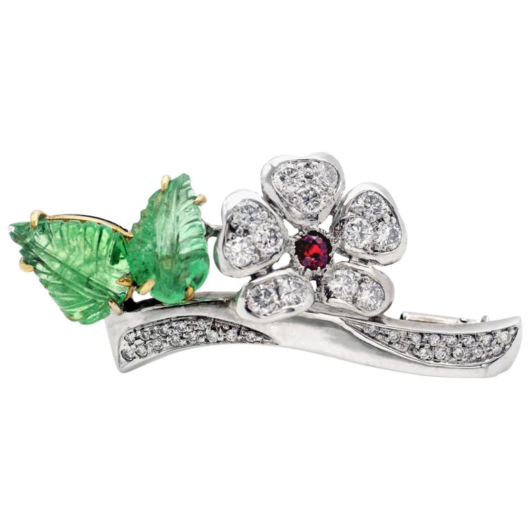 Emerald Diamond and Ruby 18 Karat Gold Floral Brooch For Sale