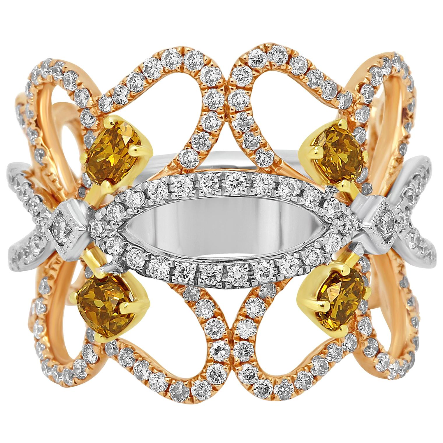 Natural Fancy Color Diamond Three-Color Gold Cocktail Fashion Band Ring