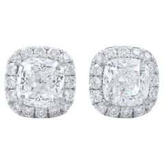 Cushion Cut Halo Set GIA Certified Diamond Stud Earrings 2.45 Carat