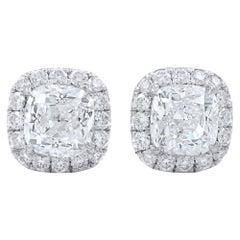Cushion Cut Halo Set GIA Certified Diamond Stud Earrings 2.45 Carat