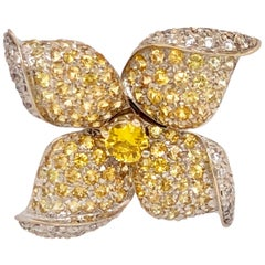 Orianne Collins White Gold Yellow Sapphire and White Diamond Flower Ring