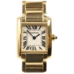 Cartier Tank Francaise Yellow Gold Ladies Quartz Wristwatch