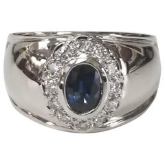 "Sapphire and Diamond Top on Wide ""Cigar"" Band"