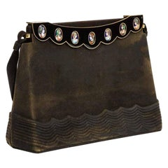 Elegant French Limoges Enamel and Black Suede Purse Handbag, George Baring, 1950