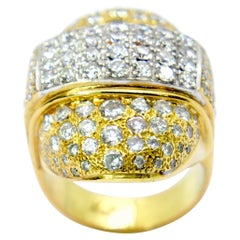 Diamond Ring with 3.80 Carat of Diamonds in White and Yellow 18 Karat Gold