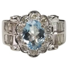 Aquamarine and Diamond Ring Set in 18 Karat White Gold