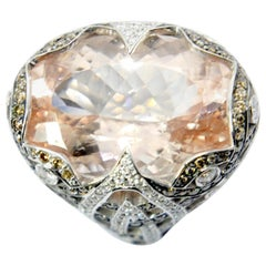27ct Morganite cocktail  Ring in 18kt gold and champagne and white diamonds