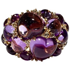 Mimi Milano Amethyst and White Sapphire 18 Karat Rose Gold Ring