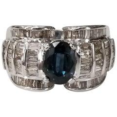 18 Karat Sapphire and Diamond Baguette Ring