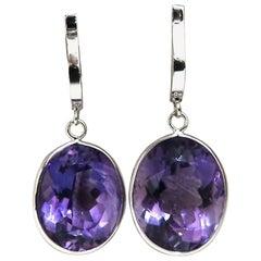 30 Carat Natural Oval Vivid Purple Amethyst Dangle Earrings 14 Karat