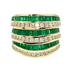 Charles Krypell 18 Karat Emerald and Diamond Wide Band
