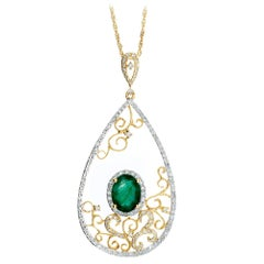 GIA Certified 1.35 Emerald Diamond Yellow Gold Filigree Pendant Necklace