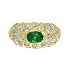 GIA Certified 1.17 Carat Tsavorite Garnet Diamond Cluster Cocktail Ring