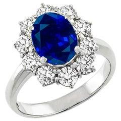 GIA 1.88 Carat Natural No Heat Sapphire Diamond Platinum Ring