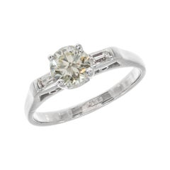 GIA Certified .78 Carat Yellow Diamond White Gold Art Deco Engagement Ring