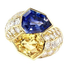 18 Karat Yellow and Blue Sapphire Diamond Bypass Ring
