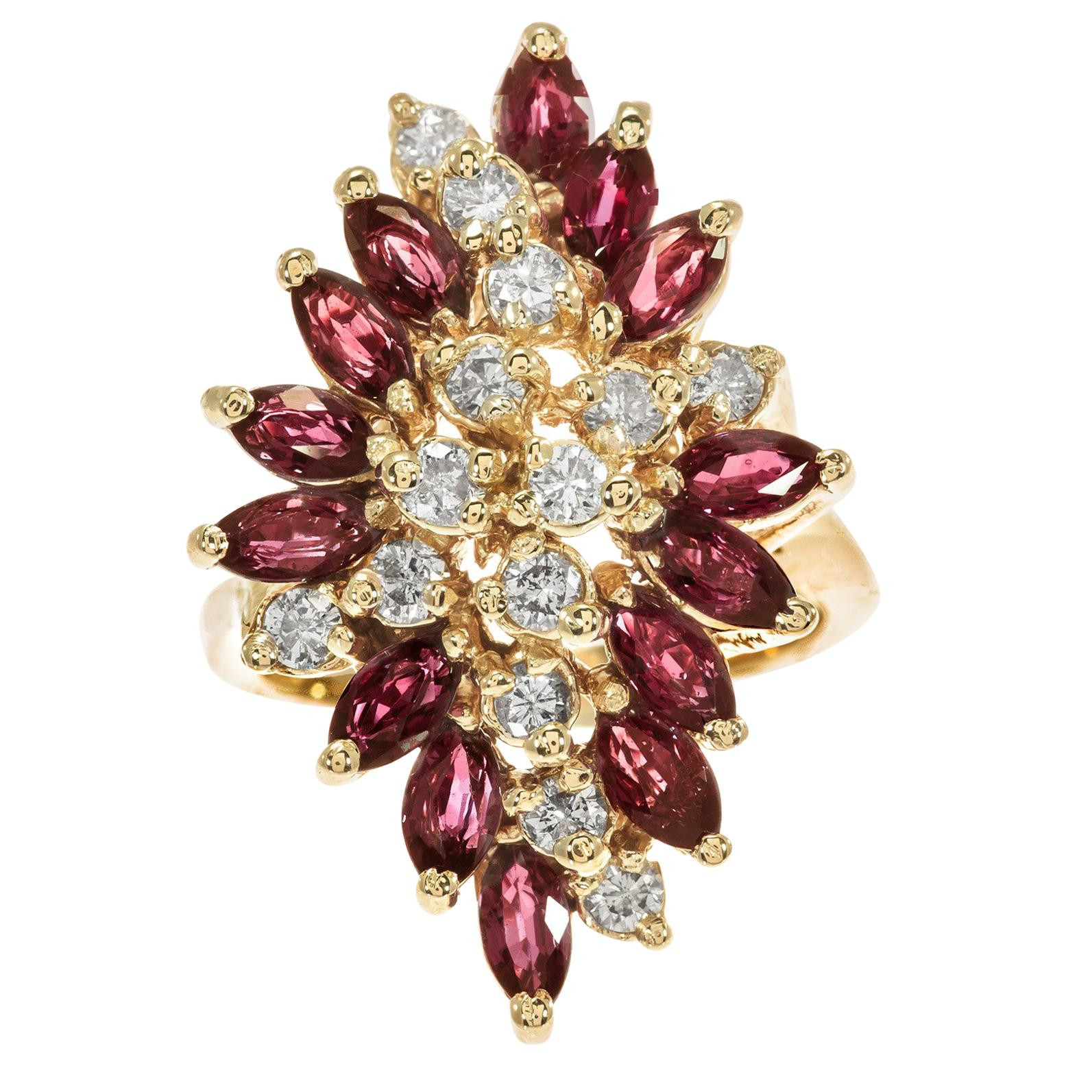 2.26 Carat Ruby Diamond Yellow Gold Cocktail Ring