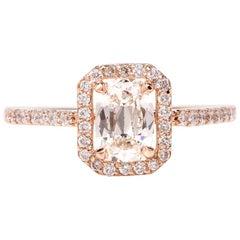 Cushion Halo GIA Diamond Rose Gold Engagement Ring
