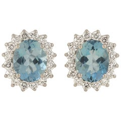 Contemporary Aquamarine and Diamond Cluster Earrings