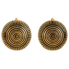 Victorian Striped Black Enamel Earring Coach Covers