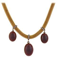 Victorian Garnet and Diamond Festoon Necklace