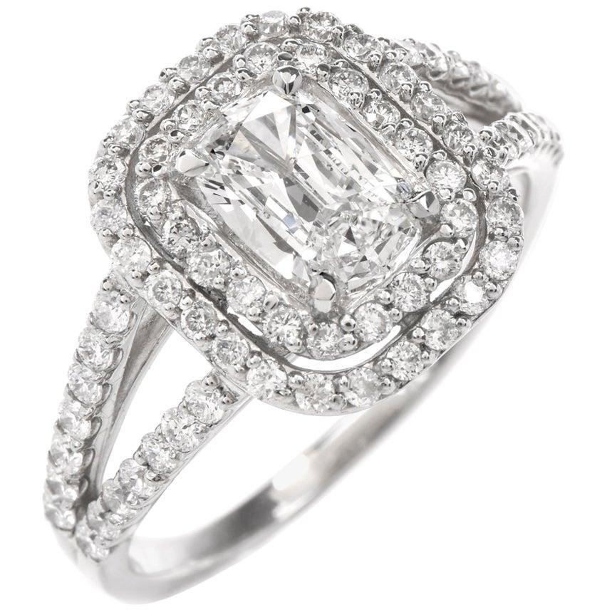 GIA Diamond Cushion Brilliant Platinum Engagement Ring