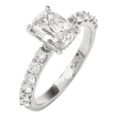 GIA D-VS1 Certified Diamond Pave Platinum Engagement Ring