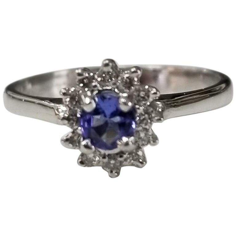 Tanzanite and Diamond Cluster Ring For Sale