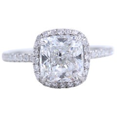 Harry Winston the One Cushion Diamond Ring 2.55 Carat E VVS1 Platinum