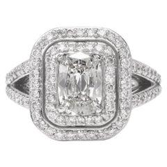 Double Halo Cushion GIA Diamond Platinum Engagement Ring