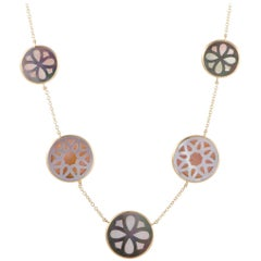 Polished Rock Candy Yellow Gold Mother of Pearl Sautoir Necklace