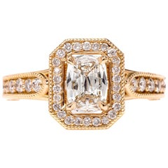 Cushion Diamond Filigree Halo 18 Karat Yellow Gold Engagement Ring