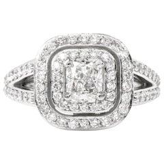 GIA Certified Diamond Split Shank Platinum Engagement Ring
