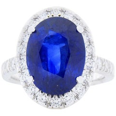 GRS Certified 7.19 Carat Oval Blue Sapphire And Diamond Cocktail Ring 18K