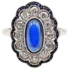 Art Deco French Sapphire Diamond Platinum Ring