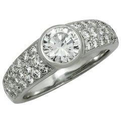 Cartier Solitaire Diamond Pave White Gold Ring GIA EGL Box