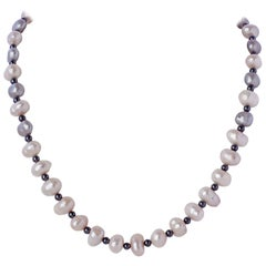 Baroque Pearl Necklace w Gray Hematite Beads & Sterling Silver & Diamond Clasp