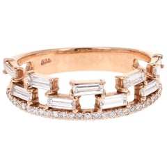 0.68 Carat Baguette and Round Cut Diamond Band 14 Karat Rose Gold