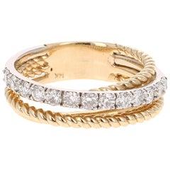 0.69 Carat Round Cut Diamond Band 14 Karat Yellow and White Gold