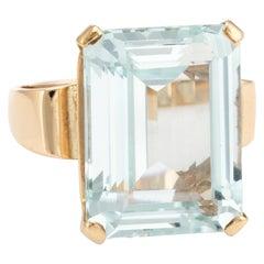 Vintage Aquamarine Ring 14k Yellow Gold 17ct Emerald Cut Fine Estate Jewelry