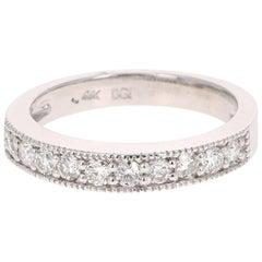 0.51 Carat Round Cut Diamond Band 14 Karat White Gold