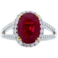 3.09 Carat Oval Ruby and Diamond Two-Tone Cocktail Ring in 18 Karat