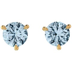 2.30 Carat Aquamarine Martini Ear Studs 18 Karat Gold